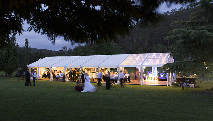 Marquee with white & clear roof